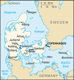 Map of Denmark, Bornholm is to the far right